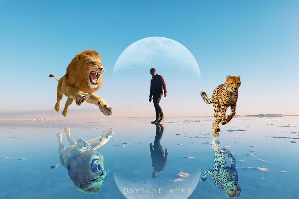 #freetoedit #moon #leopard #man #lion #hunting #reflection #bluesky #picsart @picsart
