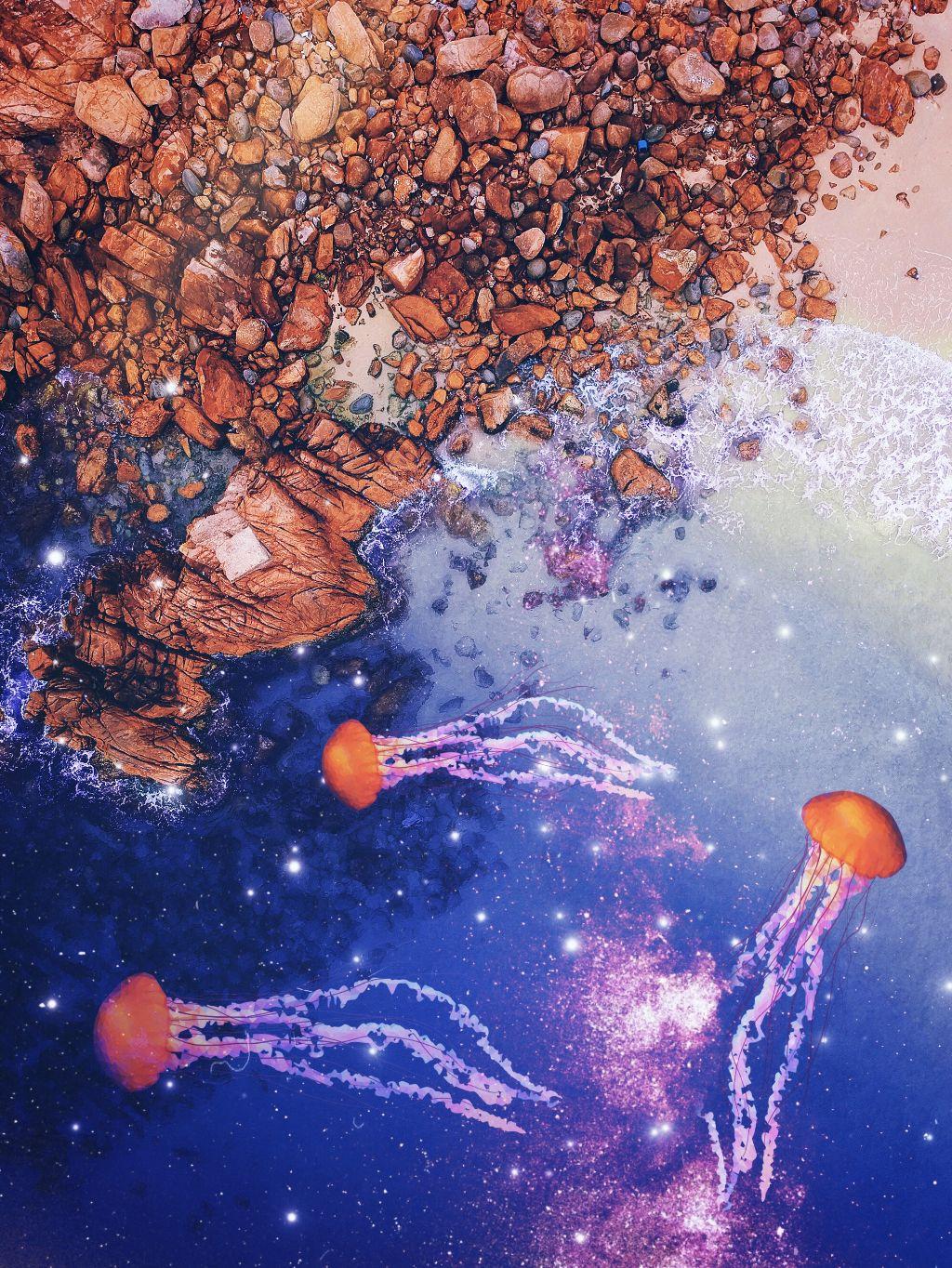 #freetoedit #jellyfish #stars #sparkles #galaxy #water #ocean #blue #rocks #art #stickers #madewithpicsart #picsart