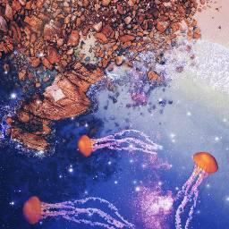 freetoedit jellyfish stars sparkles galaxy water ocean blue rocks art stickers madewithpicsart picsart