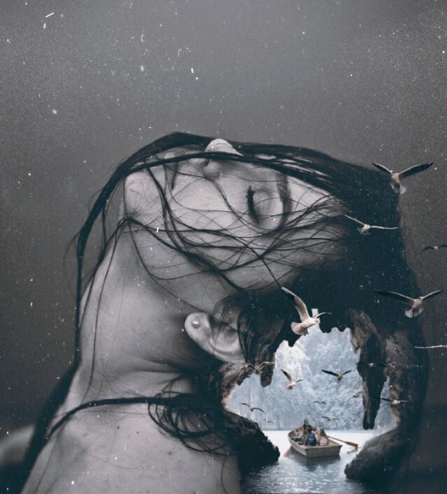 #freetoedit #doubleexposure #hair #cave #boat #sea #birds