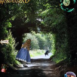 freetoedit nature girl aliceinwonderland alice forest animals edit picsart movie magic wonderful green tunel woman