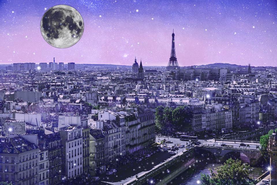 #freetoedit #paris #buidings #cityscape #moon #fullmoon #night #stars #city #sky #art #stickers #madewithpicsart #picsart