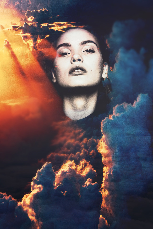 #freetoedit #picsart #remixit #portrait #clouds #sky #color #glow #light #sun #b&w #face #woman #photo #edit #photoshop #doubleexposure #tutorial #eyesofbrax #adobe