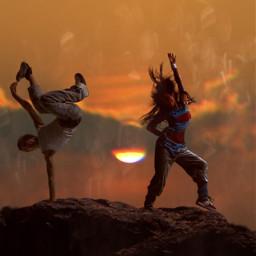 freetoedit rock sunset dancing woman ftestickers