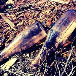 glassbottles photography colorful deserted old