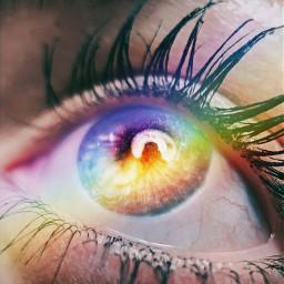 freetoedit iseeyou rainbow eye eyes
