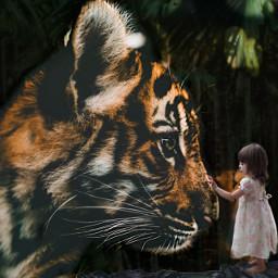 freetoedit tiger jungle girl nature
