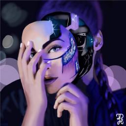portrait girl robots colorpaint
