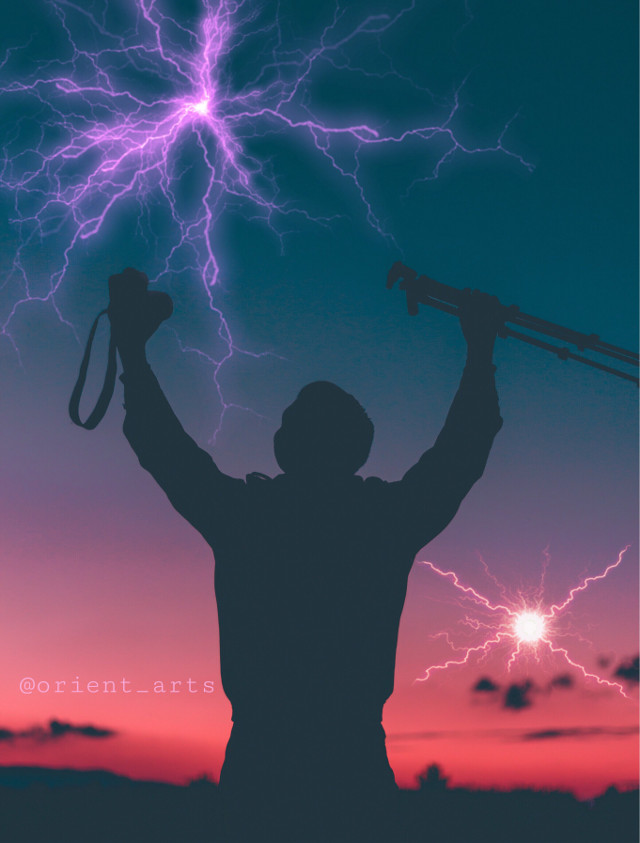 #freetoedit #photographer #camera #dusk #tripod #lightning #man #colors #imagination #fantasy #picsart @picsart