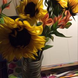 editedphoto oilpainteffect sunflowers flowers colorful freetoedit