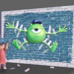 freetoedit boo mike monstersinc wall scotchtape ftestickers