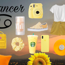 freetoedit zodaic cancer aesthetic yellow