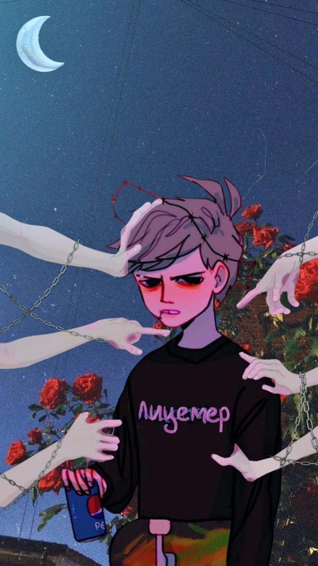 #freetoedit #лицемер #hypocrite #art #арт #boy #flowers #moon #цветы #луна #общество #ночь #night #руки #цепи #hands #chain