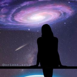 freetoedit silhoutte girl earth meteor
