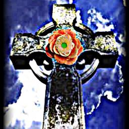 freetoedit cross celtic flowers sky