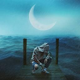 freetoedit night moon rain desolate