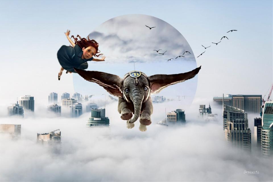 #freetoedit #dumbo #doubleexposure  #surreal #clouds #elephant From 1941 to 2019... Fly Dumbo! Fly! Op @freetoedit @nancyspasic @daisukidayoo @lauraimagine1