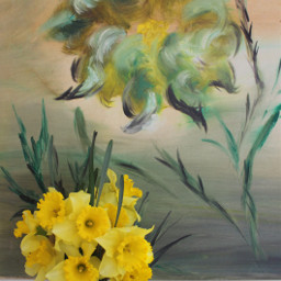 flowerarrangement daffodils paintingbackground homephotoshoot minimalphotography freetoedit