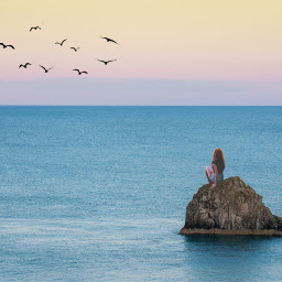 freetoedit sittinggirl girl ocean sunset