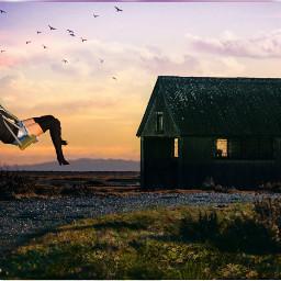 freetoedit girl woman swings sky sunset avakinlife game nature village birds people fun picsart edit calm