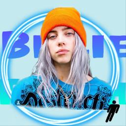 billieeilish blue bluecircle orange beanie freetoedit