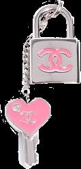 chanel lock key charm pink freetoedit