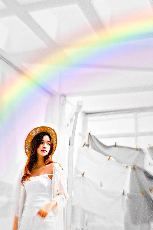 #freetoedit #rainbow #laundry #girl #whote #asian #cute #minimalist #sun #happy #girl #remixit #likeit