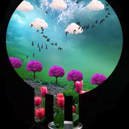 piece landscape vase doubleexposure stickers freetoedit
