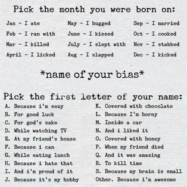 Comment your results below    Mine is: i kicked jungkook bc it's my hobby 😂😂  And also go check out my YT video >> https://youtu.be/sLuHJVRnX4A if you haven't already    #bts #kpop #freetoedit