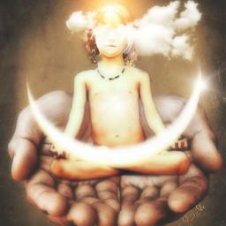 littleboy hands moon meditating stillness
