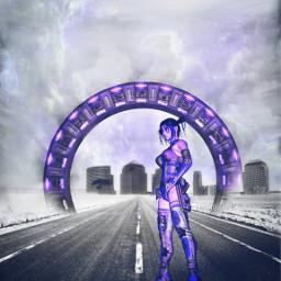 fantasy surreal cityscape warriorwoman editedstepbystep freetoedit
