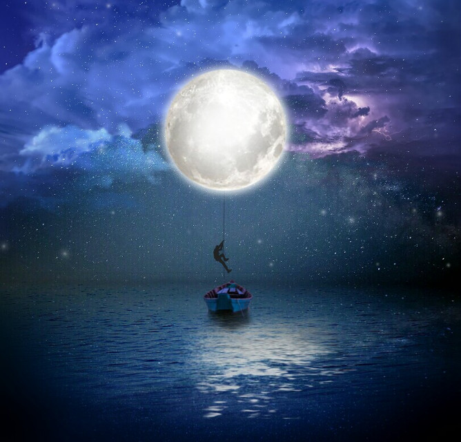 Podemos escapar de la realidad, pero eso no garantiza que vaya a cambiar.😊 We can escape from reality, but that does not guarantee that something will change.😄   #freetoedit #scape #galaxy #araceliss  #editedbyme #myedit #remixit #surreal #boat #silhouette #surrealism #moon #madewithpicsart #creativity #creative #ocean #reflection