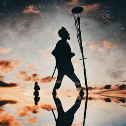 retroeffect streetphotography silhouette walking reflection