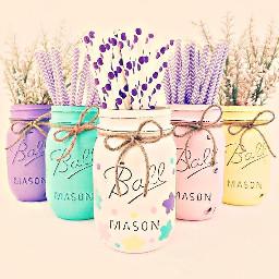 freetoedit masonjars pastels straws flowers