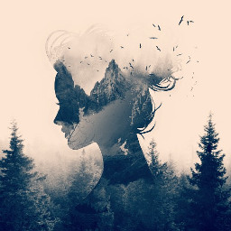 freetoedit doublexposure silhouette forest woman
