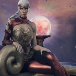 ircfullpinkmoon fullpinkmoon fantasy surreal warriorwoman freetoedit