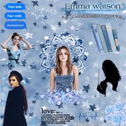 dallascontest1 emmawatson emma watson people blue aesthetic flowers stars hermionegranger hermione pastel actress picsart edit magic love text