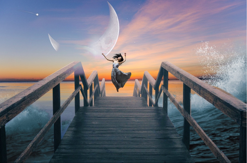 Dancing with the sea... #lift #live #waves #moon #rising #beautiful #madewithpicsart #ladyindress #music #dance #elevated