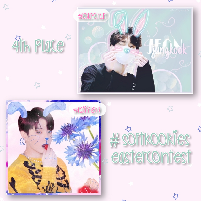 Follow @lollycraft and @fatiy1317  the 4th place winners of my easter contest 🎉💕  ───── ⋆⋅☆⋅⋆ ─────  Prizes: a shoutout that I've given in this post, 5 reposts and you can request an icon if u want one :))  ───── ⋆⋅☆⋅⋆ ─────  #softkookiesEastercontest #bts #jungkook #freetoedit