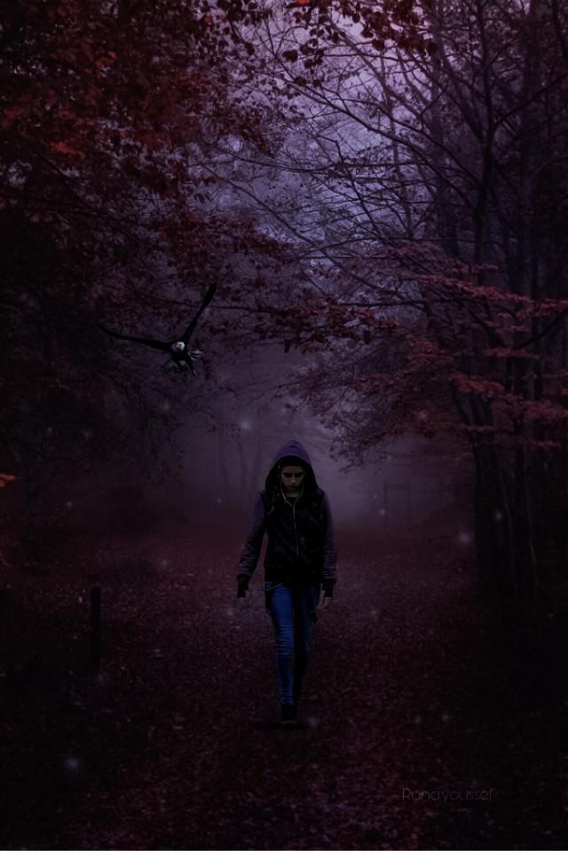 #freetoedit @picsart @freetoedit #dark #forest #girl #eagle