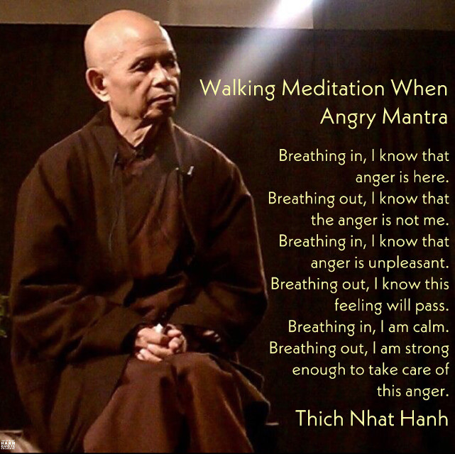 Walking Meditation When Angry Mantra. Breathing in, I know that anger is here. Breathing out, I know that the anger is not me. Breathing in, I know that anger is unpleasant. Breathing out, I know this feeling will pass. Breathing in, I am calm. Breathing out, I am strong enough to take care of this anger. - Thich Nhat Hanh. @thichnhathanhquotecollective #thay #thaysaid #walkingmeditation #walkingmeditationwhenangry #thichnhathanhquotecollective #thichnhathanh #buddhistquotes #thichnhathanhquotes