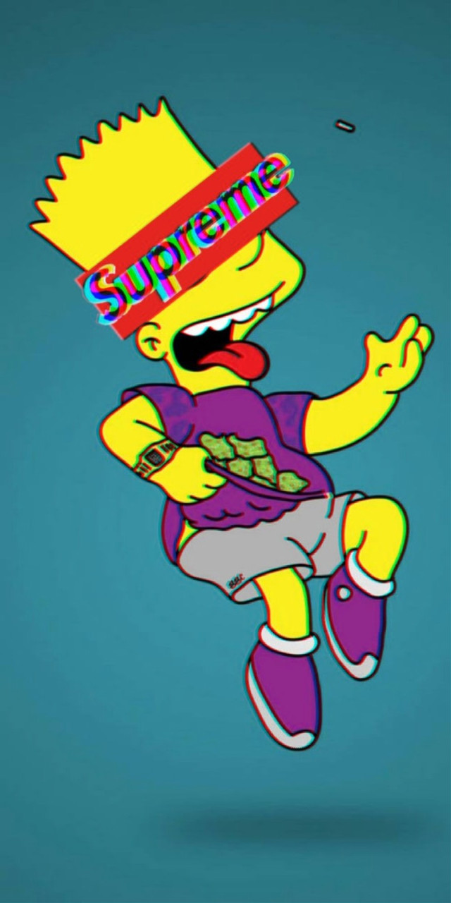 Bart Simpson Supreme WALPAPER  #freetoedit #supreme #simpsons #glitch #bart