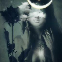 art moon fairy blackrose dreamy