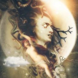 art moon medusa dreamy magical