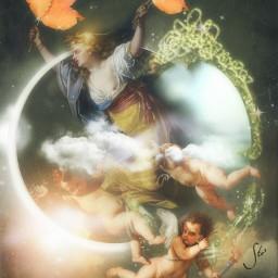 art moon fairy angels dreamy
