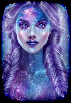 girl galaxy galaxygirl galaxyhair galaxymakeup freetoedit