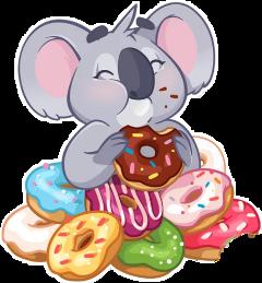 cartoon donuts koala fame eat freetoedit