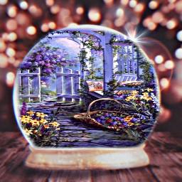 freetoedit snowglobe purple lights flowers