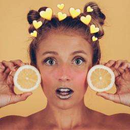 irclemon lemon freetoedit yellow hearts
