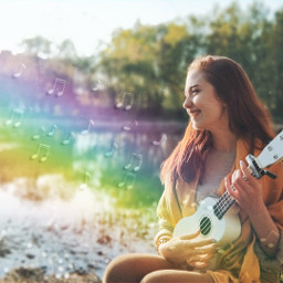 freetoedit music ukelele rainbow musicnotes